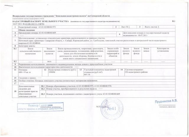 Как выглядит кадастровый паспорт земельного участка